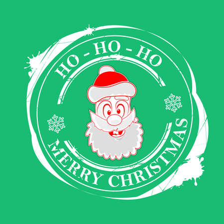 Christmas print with the face of Santa Claus green