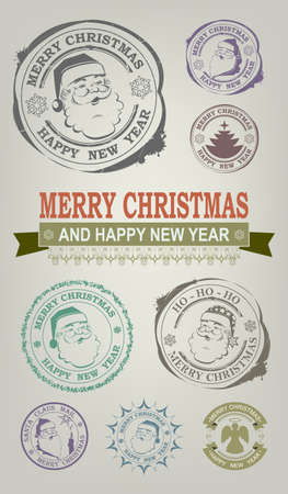 Christmas print with Santa Claus face, set
