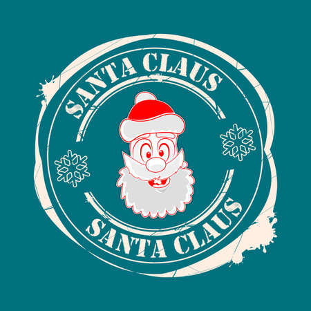 Christmas seal with the face of Santa Claus of a turquoise hue