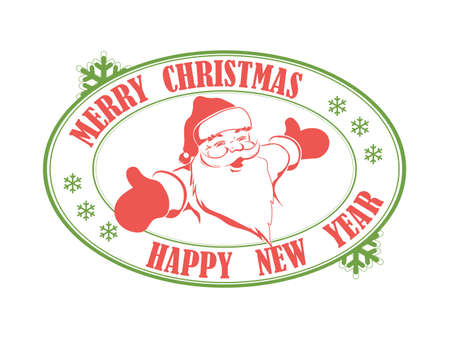 Christmas oval green and red color print with a silhouette of a smiling Santa Claus.