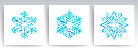 Christmas decoration magnificent textured snowflakes of a blue shade, set