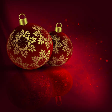 Christmas red composition with beautiful balls with golden snowflakes. Ilustração
