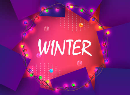 Christmas composition of a pink shade with violet squares, a round wreath with burning color bulbs.