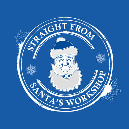 Christmas print with the face of Santa Claus in blue.