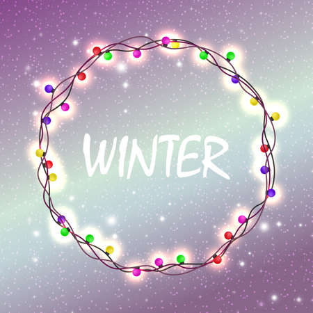 Christmas violet design with glitter and a wreath of burning colored bulbs Ilustração