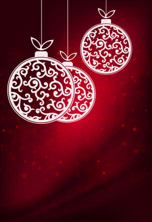 Christmas red illustration with white balls with a retro style pattern Ilustração