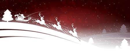 Christmas design in red tint with Santa Claus on deer with Christmas trees and snowflakes