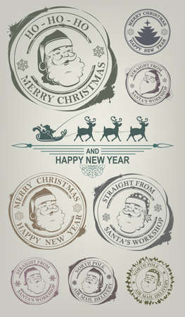 Christmas imprint with the face of a pleasant, cheerful Santa Claus, set.