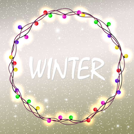 Christmas light beige composition with glitter and a wreath of burning colored bulbs Ilustração