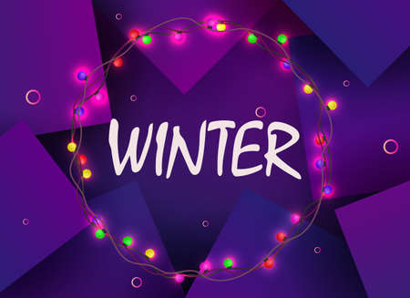 Christmas dark purple background with a round wreath with burning colored bulbs.