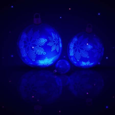 Christmas dark blue composition with balls and elegant snowflakes