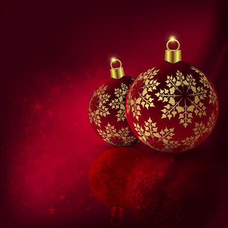 Christmas red design with beautiful balls with golden snowflakes. Ilustração