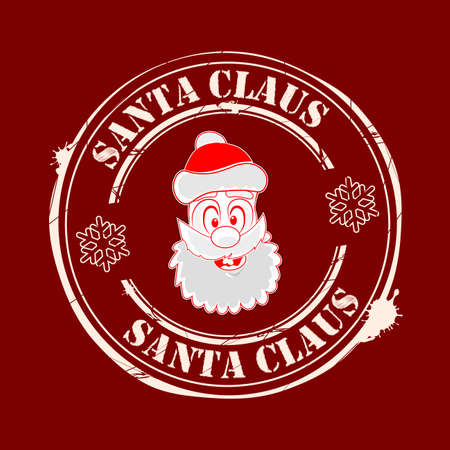 Christmas seal with the face of Santa Claus in red Ilustração