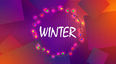 Christmas purple background with a round wreath with burning colored bulbs.