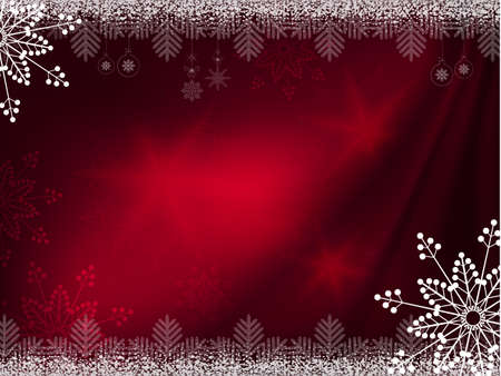 Christmas dark red background with magnificent snowflakes Ilustração