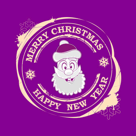 Christmas print with Santa Claus face in purple hue.