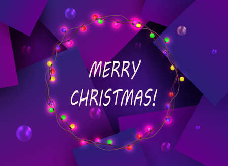 Christmas purple composition with squares and a round wreath with burning colored bulbs Ilustração