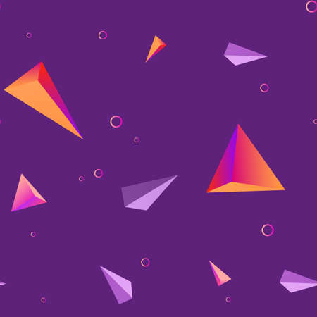 Abstract seamless purple geometric design with triangles and circles