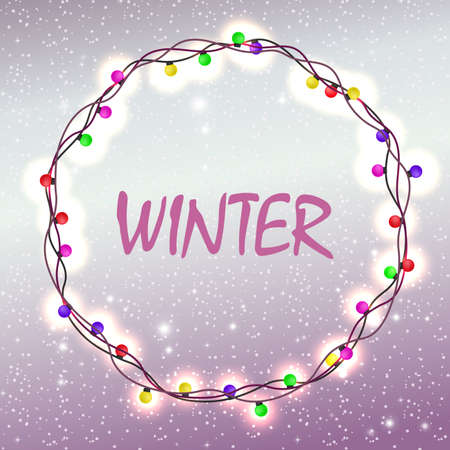 Christmas light purple design with glitter and a wreath of burning light bulbs