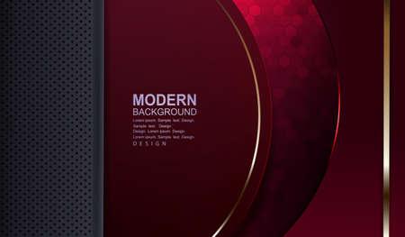 Teksturowe czerwone tło z mozaiką, szarą ramką i półokrągłą ramką z obramowaniem w złotym odcieniu.