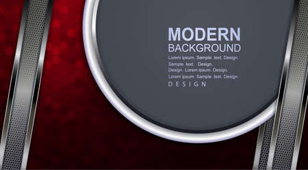Red background with mosaic, gray round frame with a white border, stripes of a metallic shade.