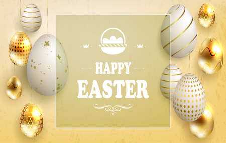Light Easter composition of a yellow shade with a set of eggs on pendants, with a different pattern of white and gold