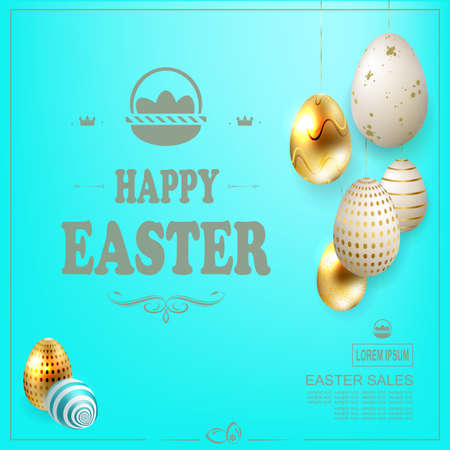 Light blue Easter composition with beautiful eggs of various colors on pendants
