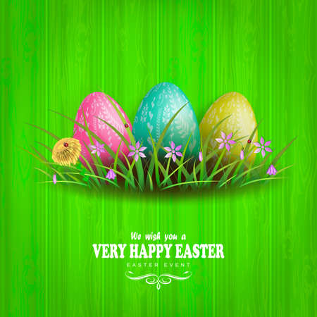 Easter green composition with a wood pattern, three eggs of different colors with a pattern, grass and flowers.
