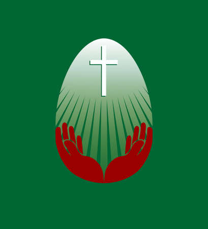 Silhouette of an Easter white egg with a cross and hands, design element Иллюстрация