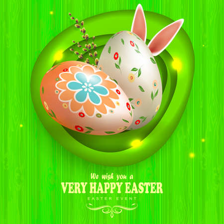 Easter eggs with a pattern of rabbit ears and a willow branch, green composition with a silhouette of a board, oval abstract frame