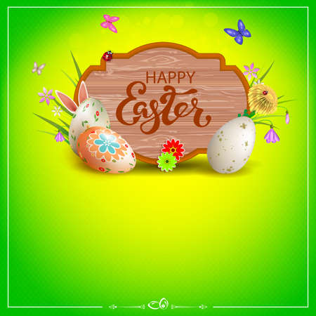 Easter composition of green color with a curly frame, Easter eggs, grass with flowers, butterflies and rabbit ears
