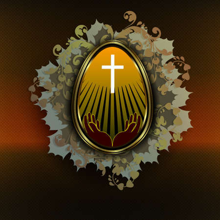 Easter dark composition with an egg in a gold frame, a cross and a silhouette of hands, with sunbeams, interlaced silhouettes of green foliage.