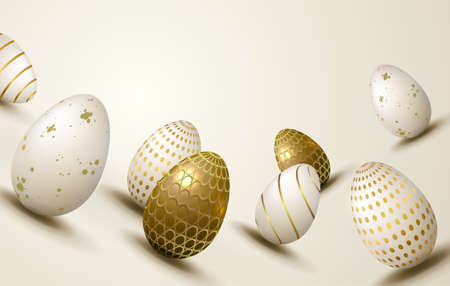 Bright Easter composition with a silhouette of eggs with a different pattern, design element.