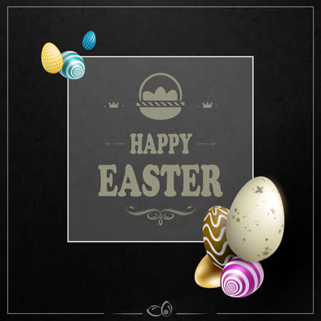 Black textured Easter composition with a square frame with a basket, a silhouette of eggs of various colors Фото со стока - 138799920