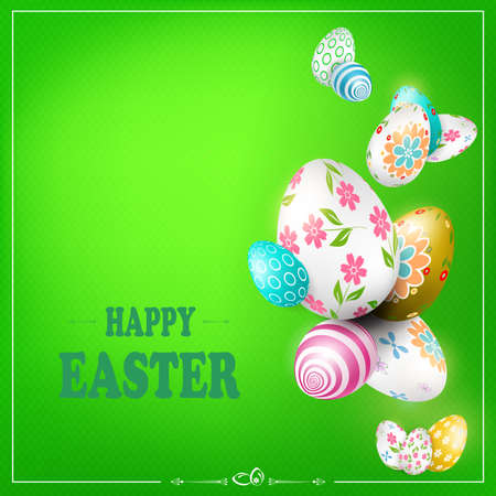 Green Easter composition with wonderful eggs with different patterns Иллюстрация