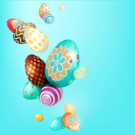 Light blue Easter composition with wonderful eggs with a different pattern.