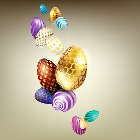 Easter beige composition with beautiful eggs with a different pattern and color Фото со стока - 138888754