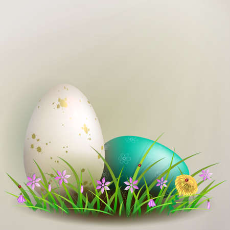 Easter composition with a white and turquoise egg with a pattern, grass and flowers Фото со стока - 138982085