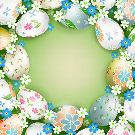 Easter light green composition with beautiful eggs and flowers drawn by a round wreath, frame Иллюстрация