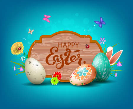 Light blue Easter composition with a frame with a tree silhouette, eggs of various colors, rabbit ears and butterflies