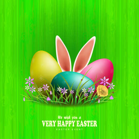 Easter eggs with rabbit ears and willow branch, green color composition with grass and flowers