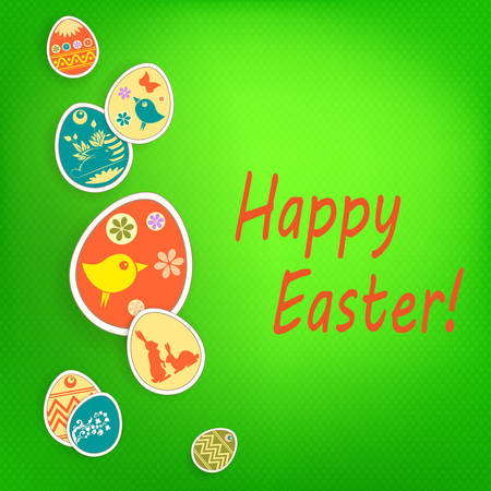 Easter green composition with beautiful eggs drawn by a garland with a silhouette of a bird and a rabbit. Иллюстрация