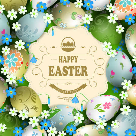 Easter composition with colorful eggs drawn in a circle with a light curly frame with braid and text. Иллюстрация