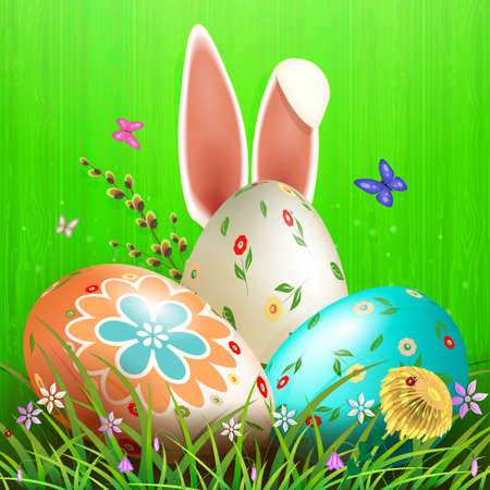 Easter composition of green color with a silhouette of a board, three eggs with grass, flowers and butterflies.