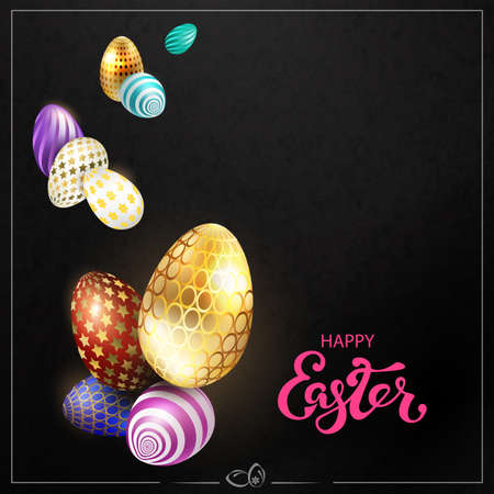 Black textured Easter composition with a square frame and eggs of various colors