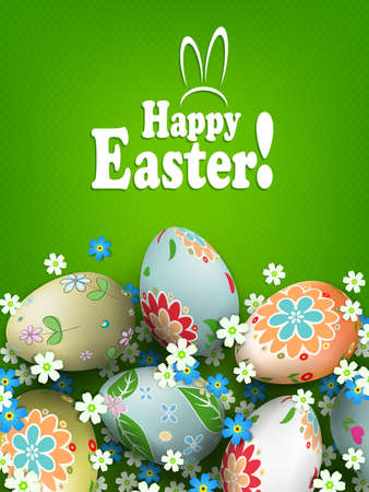 Easter green texture composition with eggs with a beautiful different pattern and flowers. Иллюстрация