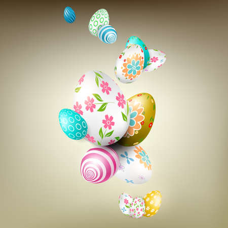 Easter beige composition with beautiful eggs drawn as a garland with a different pattern.