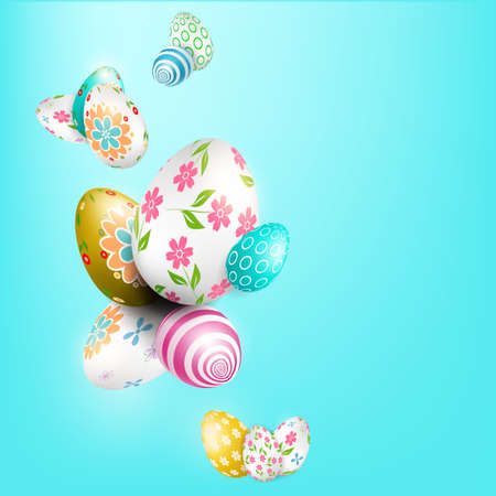 Light blue Easter composition with wonderful eggs with a different pattern Иллюстрация