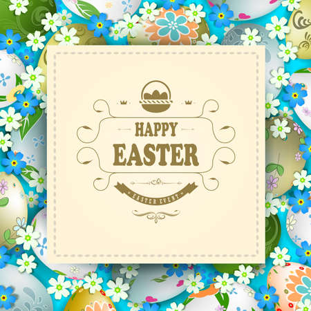 Bright Easter composition with a square frame with interwoven braid, a set of Easter eggs and many colors of blue and white