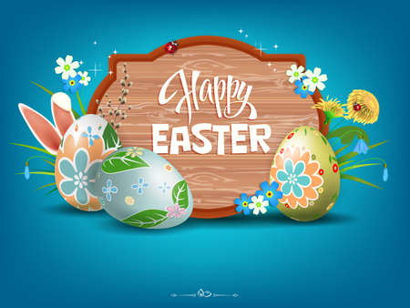 Easter blue composition with a curly frame, beautiful eggs, flowers and rabbit ears. Иллюстрация